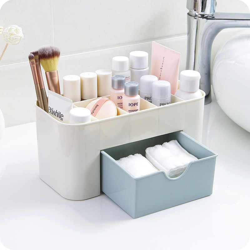 โต๊ะ Sundries เครื่องสำอางค์คอนเทนเนอร์แต่งหน้าพลาสติก Organizer Multi-functional Make Up แปรงกล่องลิ้นชัก #15