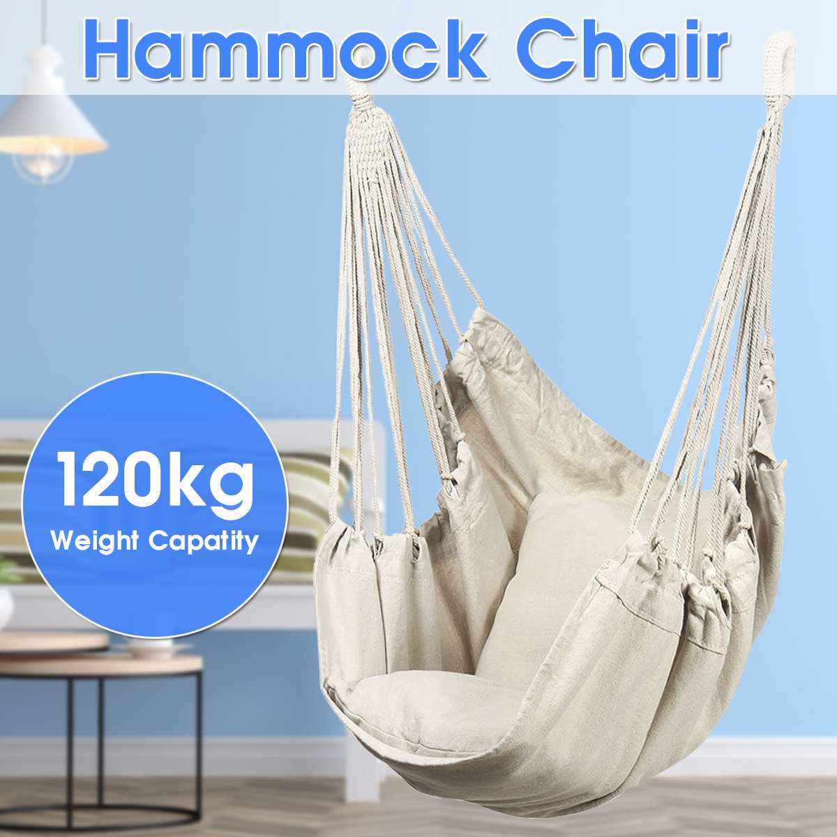 Nordic Style Bold Cotton Rope Mesh Swing Seat Hammock Chair