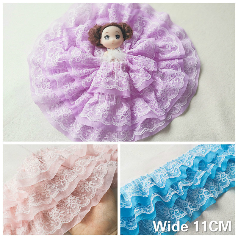 11CM Wide New Three Layers 3d Pleated Chiffon Fabric Lace Ruffle Collar Trim Embroidery Ribbon DIY Wedding Dress Sewing Supplies(China)