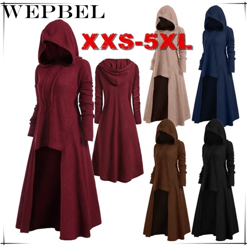 WEPBEL Women Long Sleeve Medieval Vintage Hooded Clothes Gothic Fantasy Asymmetrical Dress Renaissance Cosplay Dresses Plus Size