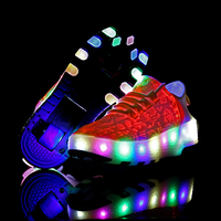 Two Wheels One Sneakers USB Charging Led Light Roller Skate Shoes for Children Kids Shoes Boys Girls Shoes Light Up Unisex