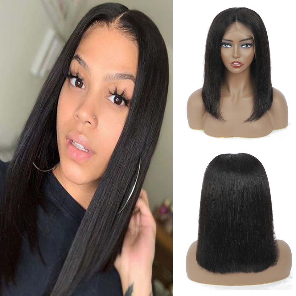 Straight Wave Short Bob Lace Frontal  Wigs 13x4  Bob wig Pre Plucked  HD Full Hair Frontal Wigs 2