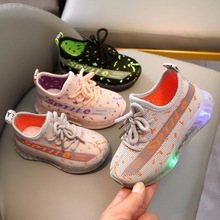 Children's Summer New LED Luminous Shoes for Boys and Girls English Little Personality Flying Woven Mesh Light Shoes CS124