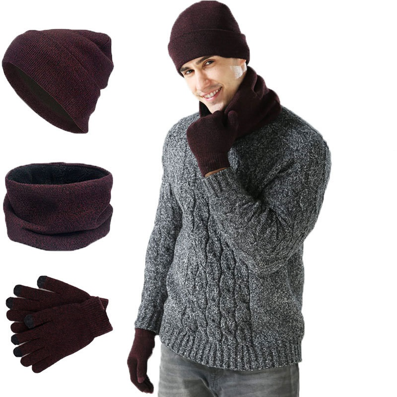 Winter Men's WOMEN'S Thick Warm Hat Scarf Set Knitted Hat Scarf Gloves 3pcs Set