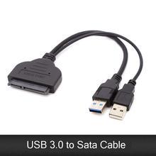 Двойной USB 3,0 SATA кабель, 22 Pin Sata к USB адаптер до 5 Гбит/с Поддержка 2,5 дюйма внешний SSD HDD жесткий диск адаптер кабель