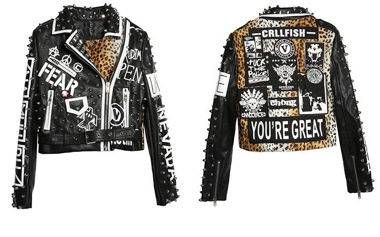 Mulheres rock punk jaqueta de couro com