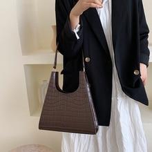 Bolsa de mão feminina retrô com estampa de crocodilo, bolsa de ombro feminina de luxo feita em couro sintético de poliuretano, estilo vintage de 2020