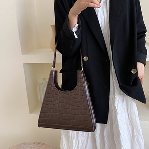 Image 1 - Timsah desen Retro omuz çantaları kadınlar için 2020 lüks çanta kadın çanta tasarımcısı PU deri eski bayan zarif kılıf