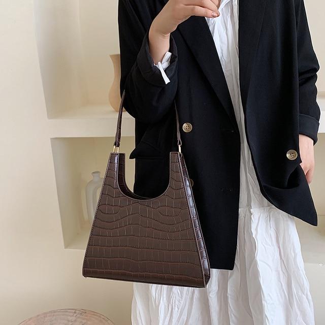Timsah desen Retro omuz çantaları kadınlar için 2020 lüks çanta kadın çanta tasarımcısı PU deri eski bayan zarif kılıf