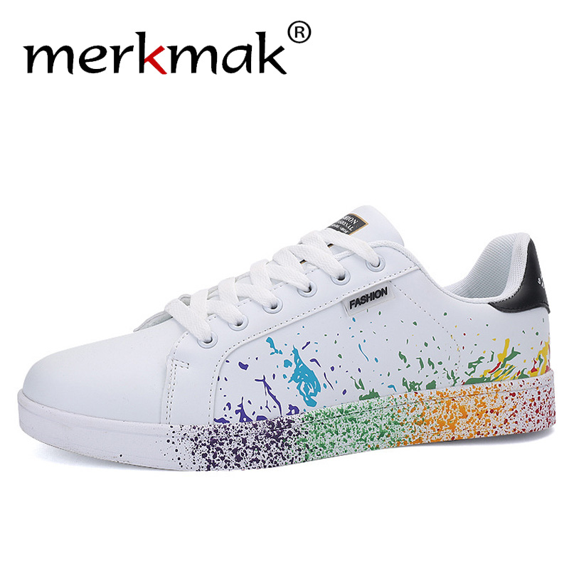 Merkmak 2019 New Arrival Men Sneakers Fashion Lace-up Couple Flats Round Toe Leather Casual Shoes Non-slip Big Size Men Shoes