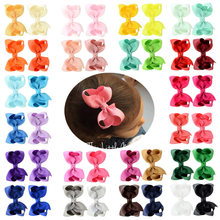 1 Pcs 3 Pollici Solido Del Nastro Del Grosgrain Archi Accessori per Capelli con La Clip Boutique Bow Forcelle Accessorio Dei Capelli per La Ragazza Regalo 563(China)