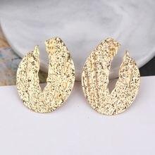 Brincos de gota oval grandes para mulheres, brincos de metal texturizado de cor dourada em forma de bobina geométrica, joias exageradas no atacado