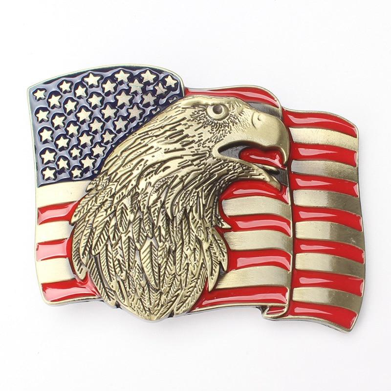 New Style American Flag Eagle Metal Western Belt Buckle With Fashion Men Women Jeans Accessories Fit 4cm Width Belt