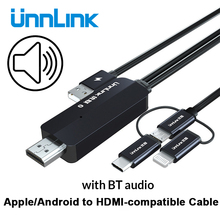 Unnlink USB to HDMI-compatible Mirror Cast Convert Cable with Audio MHL for iPhone iPad Lighting Android Phone Mi Micro USB
