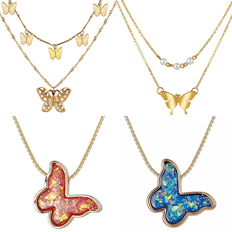 2020 Multi-layer butterfly necklace women butterfly Pendant Necklaces New Fashion gold necklace Jewelry Girl statement party