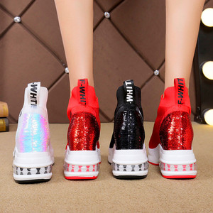 Image 3 - Exquisite high elastic stockings womens boots platform sneakers high to help socks shoes breathable womens vulcanized shoes
