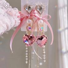 MENGJIQIAO koreański luksusowe eleganckie przędzy Bowknot kryształ w kształcie serca opadające kolczyki z długimi frędzlami dla kobiet dziewczyn przyjęcie świąteczne biżuteria