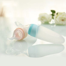 90ML Lovely Safety Infant Baby Silicone Feeding With Spoon Feeder Food Rice Cereal Bottle For Best Gift(China)