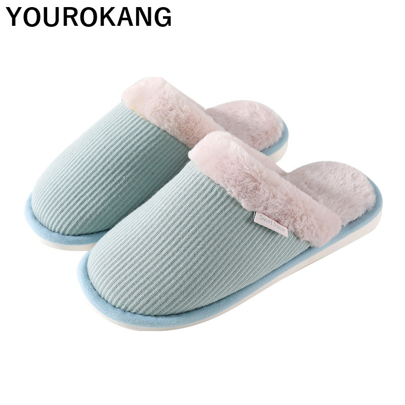Winter Slippers Men Warm Plush Shoes Indoor Male Home Slippers With Fur Unisex Bedroom Floor Flip Flops For Lovers Non-slip