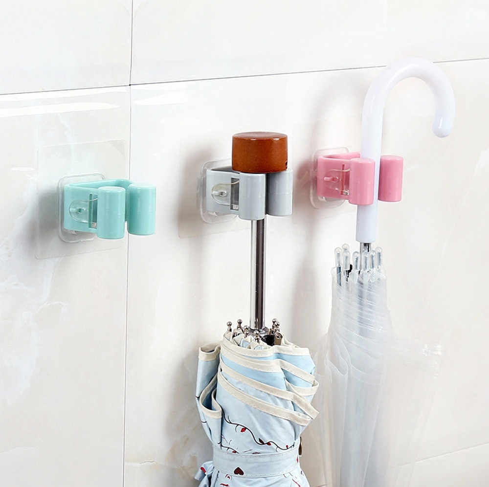 1pcs Practical Wall Mounted Mop Umbrella Holder Brush Broom Hanger Storage Rack Kitchen Tool Easy to Operate Wholesale Price