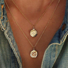 Fashion Crystal Multilayer Round Star Moon Necklace Double Layered Gold Chain Choker Coin on Neck Women Femme