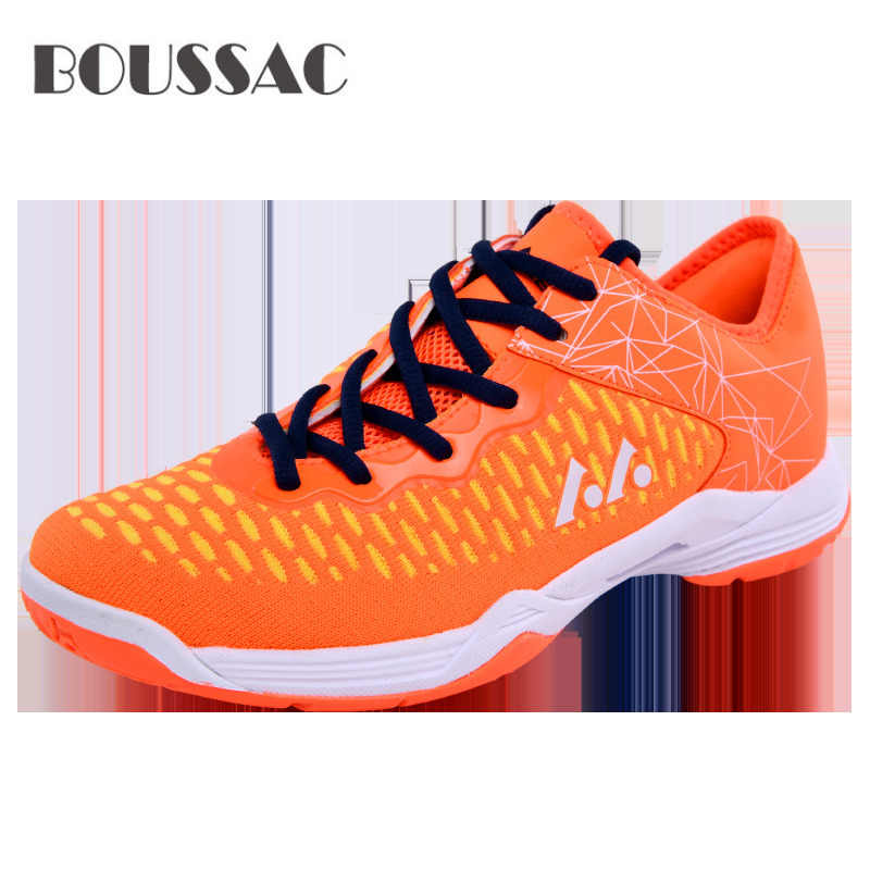BOUSSAC Badminton Shoes for Couples Lace-up Sport Sneakers Men Women Training Athletic Shoe Anti-Slippery Tennis Sneakers