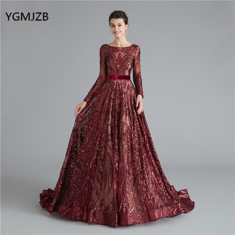 Burgundy Evening Dress Sparkly Sequin Long Sleeves 2019 Backless Arabia Formal Dress Evening Prom Gown Robe De Soiree