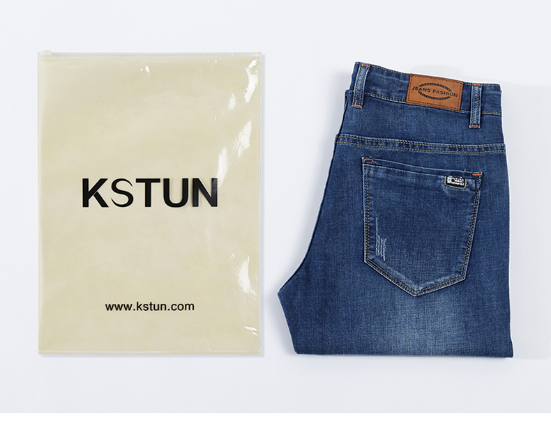 KSTUN Jeans Men Summer 2020 Blue Slim Straight Denim Pants Casual Fashion Men's Trousers Full Length Cowboys Male Jeans Hombre 19