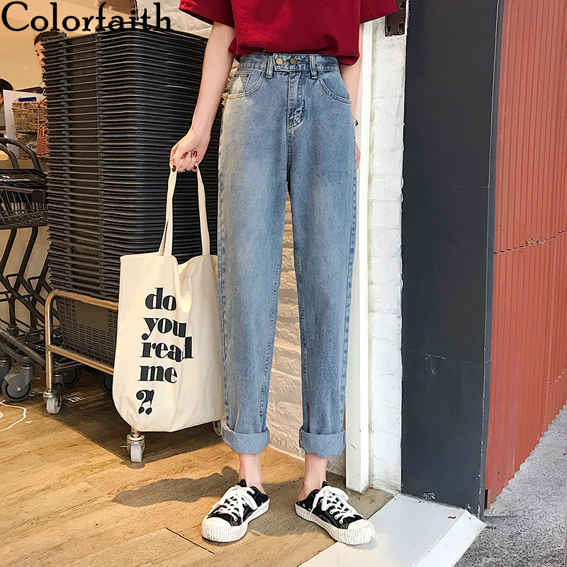 Colorfaith New 2020 Women Spring Summer Jeans Casual Straight Elastic Waist Trousers Loose Denim Empire Pockets Wild Pants J2306