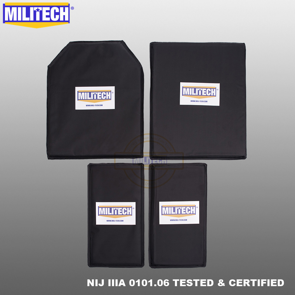 MILITECH Aramid Ballistic Panel BulletProof Plate Inserts Body Armor Soft Armour NIJ IIIA 3A 11x14 STC&SC And 6x12 Two Pairs