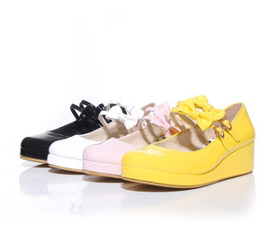 Image 5 - Anime cosplay sweet lolita shoes round head muffin heel shallow mouth women shoes bowknot kawaii shoes loli cos