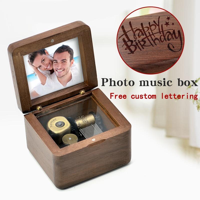 DIY Custom engraving photo wooden sankyo music box birthday gift baby dear Christmas presents.boys and Girls children gifts