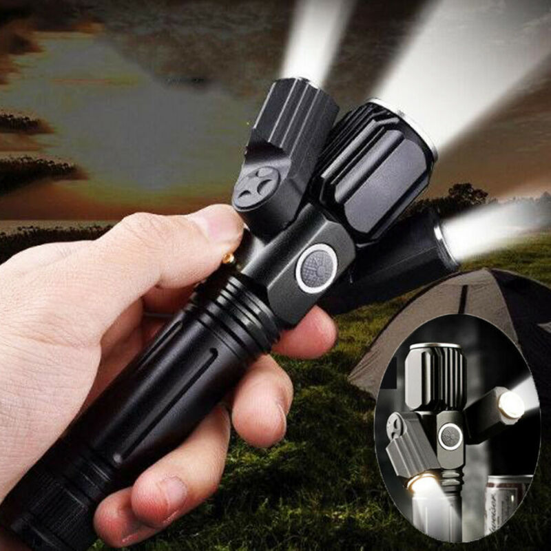 USB Charging Three Head LED Flashlight Rotating Multifunction 20000LM 3 Modes Police Tactical Defense Flashlight Stick
