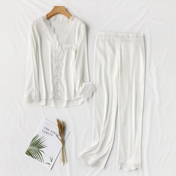 HaloSweet Casual Slik Sleepwear Sexy Lace Long Sleeves Pajamas Suit Two Pieces Pants Set Satin Homewear V-Neck Spring Autumn