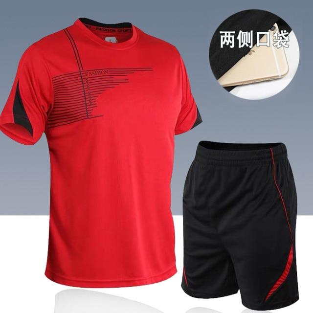 men's set  sportswear kit short sleeve sports sport shirt men running 2pcs suit for soccer gym fitness men t-shirts+shorts sets 1