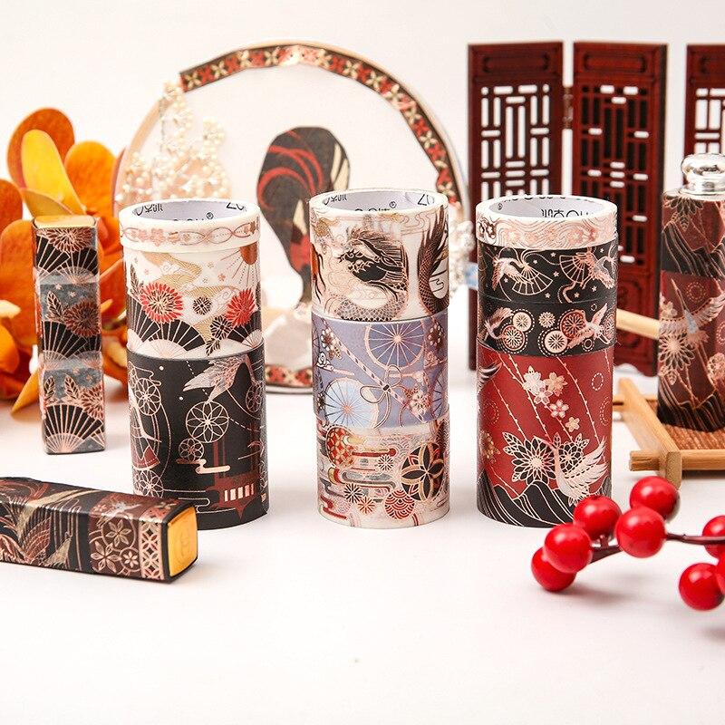 5 pcs/pack Hot stamping Dragon Phoenix Washi Tape Set Cute Girl Adhesive Tape DIY Scrapbooking Stickers Label Masking tapes