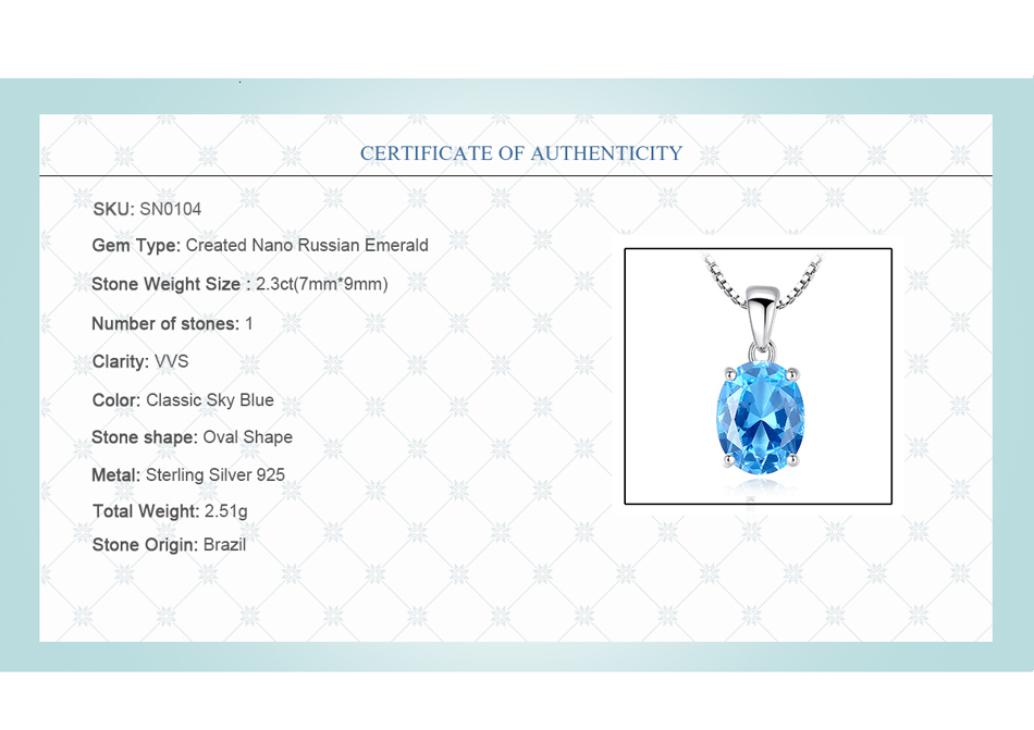 H9a399d6d79a34a2f8ec948a7ce13c882q CZCITY Sky Blue Topaz Stone Pendant 2.3 Carat Oval Shape Solitaire Natural Topaz 925 Sterling Silver Chain Necklace for Women