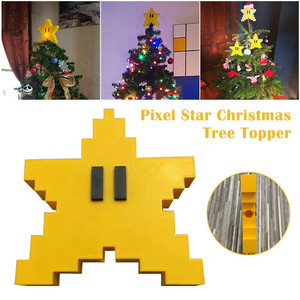 3D Star Shape Pixel Star Christmas Tree Topper Decorative Topper Xmas Tree Ornament For Christmas New Year Party Decoration