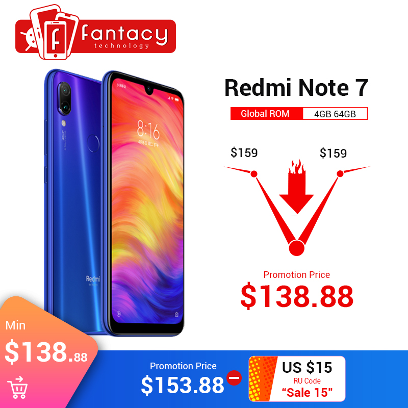 Xiaomi Redmi Note 7 4GB GSM/WCDMA/LTE Quick Charge 4.0 Gorilla Glass Octa Core Face Recognition