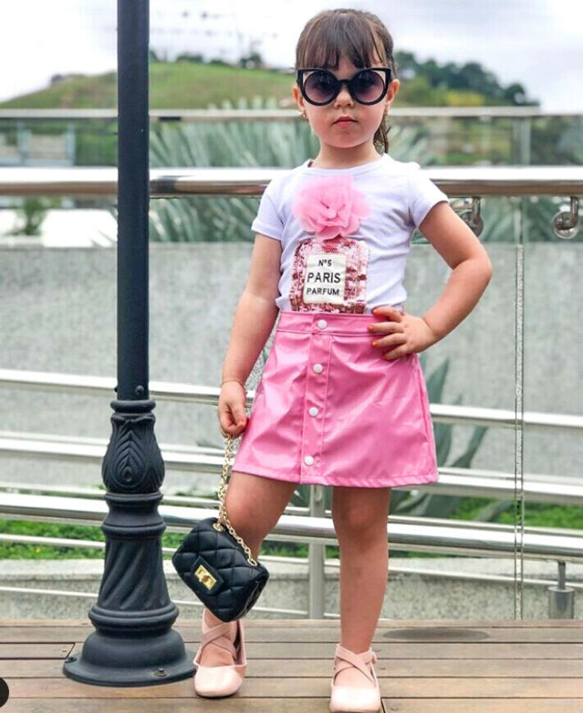 Kids Girl Two Pieces Set Short Sleeve Flower T Shirt Faux Leather Skirt Suit Toddler Baby Girl Clothes Set