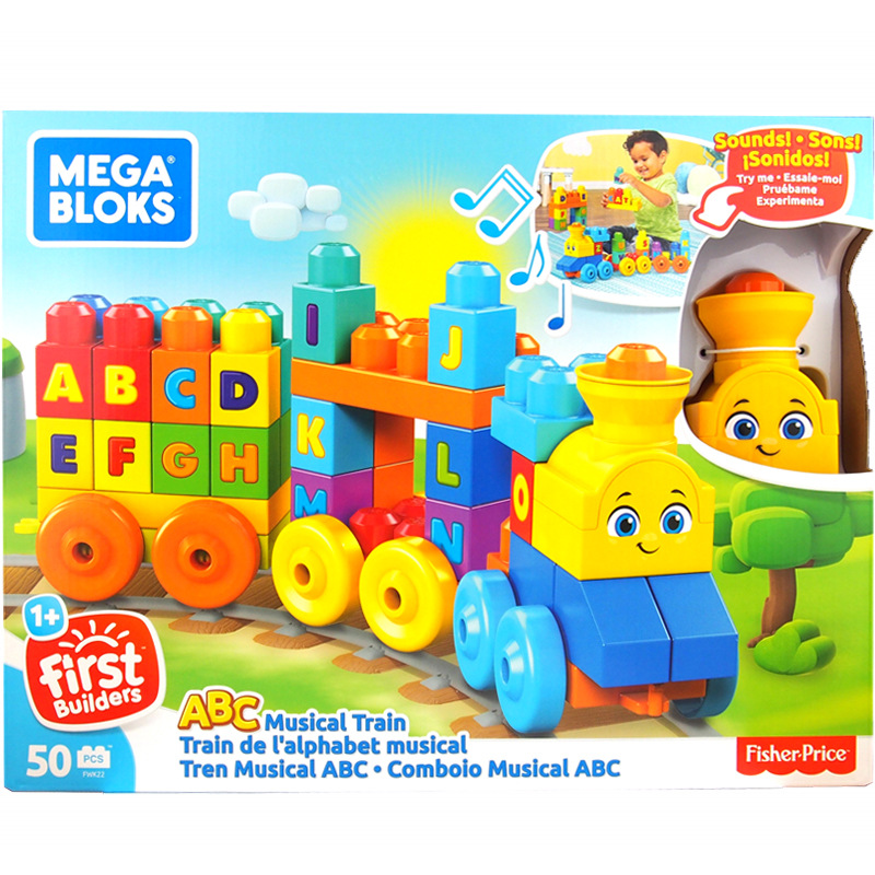 Genuine Product Mega Bloks Meigao Building Blocks Large Particles Building Music Lettered Learning Train