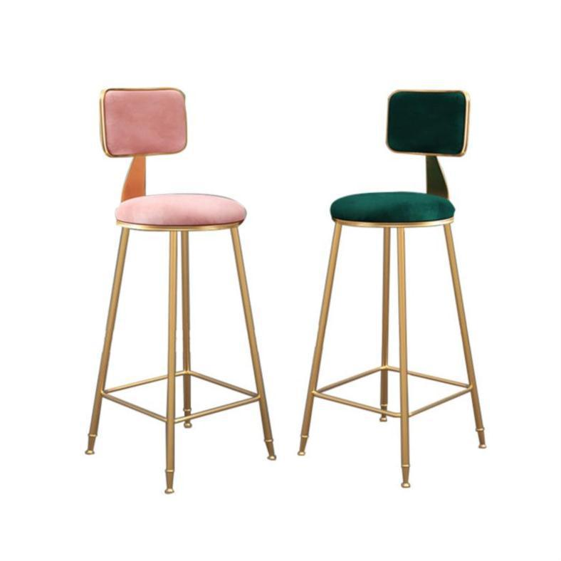 Nordic Wrought Iron Bar Stool Modern Minimalist Home Backrest Dining Chair High Stool Cafe Bar Stool Bar Stool