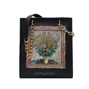 Luxury Pu Leather Crossbody Bag Ceative Character Print Purses Vintage Oil Painting Totes Women Shoulder Bags Chains Handbags vento marea famous brand women handbags 2019 luxury crossbody for woman fashion design purses totes soft pu leather shoulder bag