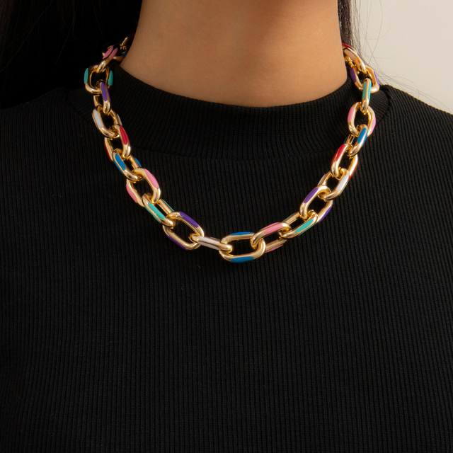 IngeSight.Z Punk Chunky Thick Aluminium Curb Chain Choker Necklace Goth Gothic Printed Short Clavicle Necklaces Collar Jewelry 2