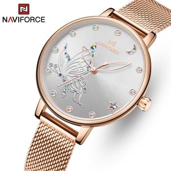 NAVIFORCE Luxury Crystal Watch Women Top Brand Rose Gold Steel Mesh Ladies Wrist Watches Bracelet Girl Clock Relogio Feminino 1