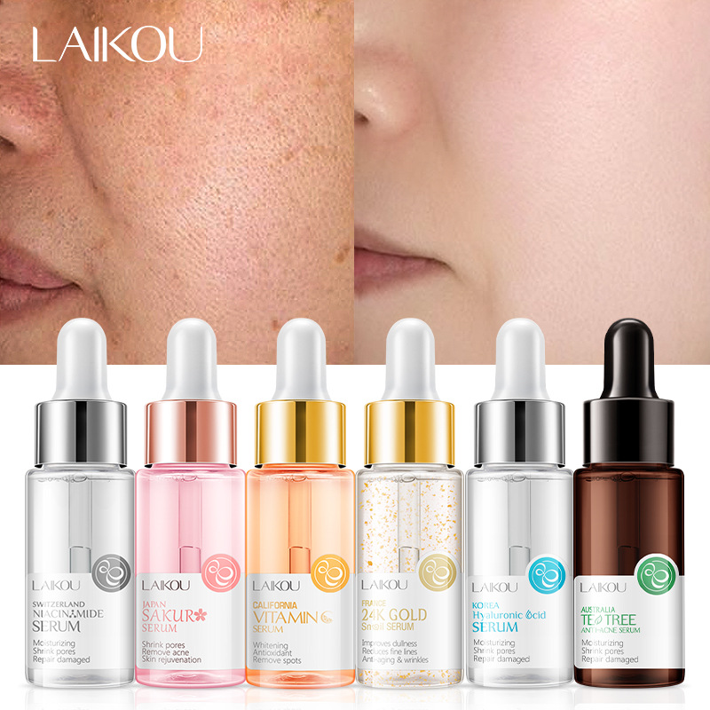 LAIKOU Essence 24k Snail Stock Solution Hyaluronic Acid Cherry Blossoms Face Serum Moisturizing WhiteningNicotinamide Hyaluronic