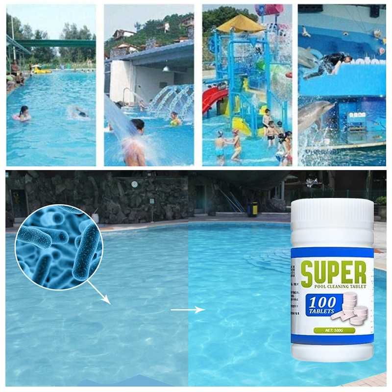 Magic Pool Cleaning Tablet 1 Bottle Tablets Swimming Pool Cleaner Multi Use Tub Cleaning Purifier 100G Powerful Pool Cleaner