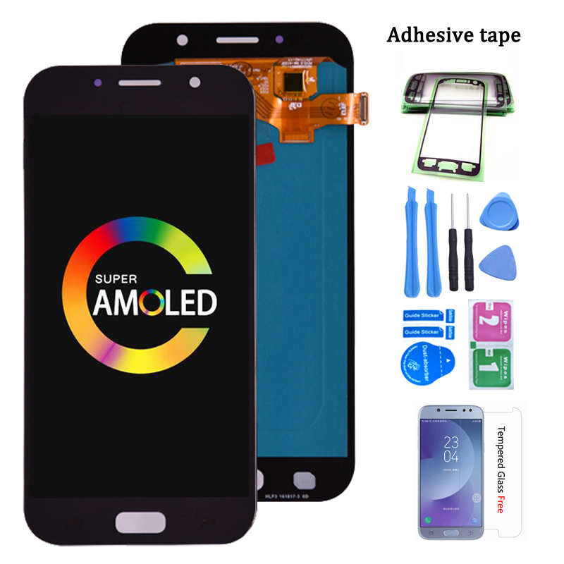 100% Super AMOLED <font><b>LCD</b></font> For <font><b>Samsung</b></font> Galaxy <font><b>A7</b></font> 2017 A720 A720F SM-A720F <font><b>LCD</b></font> Display + Touch Screen Digitizer Assembly free ship image