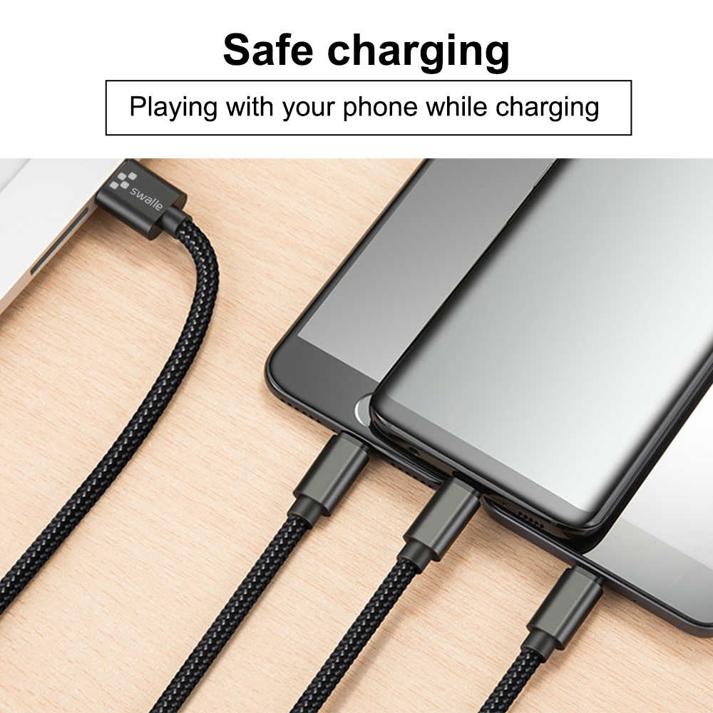 Swalle 3 で 1 USB ケーブル iphone xr 充電ケーブルマイクロ充電器コード携帯電話マイクロ USB タイプ C 充電ケーブル