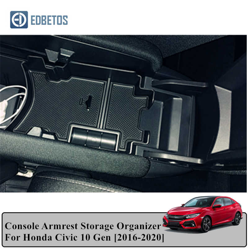 OYADM 10th Gen Civic ABS Carbon Fiber Style Armrest Storage Box for Central Console Glove Holder Organizer Tray Car Cup Holder For Honda Civic 2016-2020